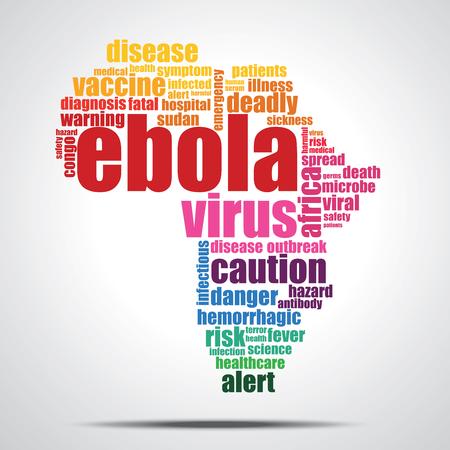 ebola: Ebola virus word cloud- Its shape is African continent
