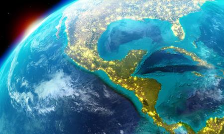 Nordamerika einschließlich Mexiko, Costa Rica, Kuba, Bahamas, einigen Teilen der USA und so weiter zusammen mit Lichter der Stadt