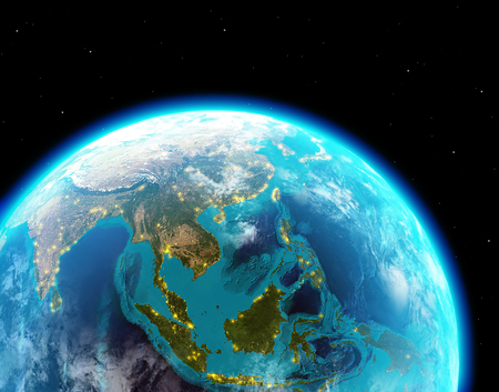 Asia continent with city lights from outer space Stock Photo