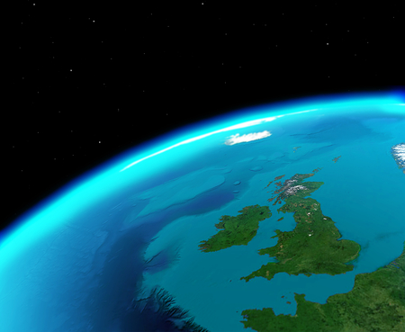United Kingdom viewed  from outer space Stock Photo
