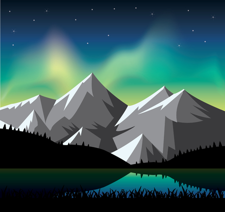 phenomenon: Northern light glowing over the snowy mountains Illustration