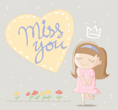 miss: Cute girl with big heart and lettering  miss you