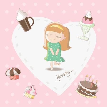 sweet stuff: Yummy - Girl dreaming of sweet stuff bakery Illustration