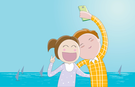 taking photo: Selfie-a couple of lovers taking photo of themselves Illustration