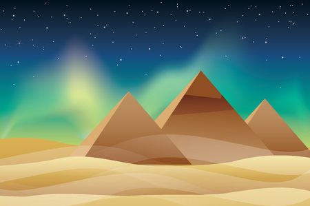 Pyramid with the northern lights Vector