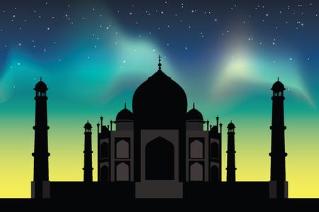 northern lights: Taj Mahal  with the northern lights