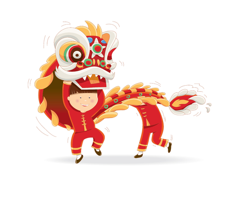 lion dance: Happy Chinese New Year isolated on a white background