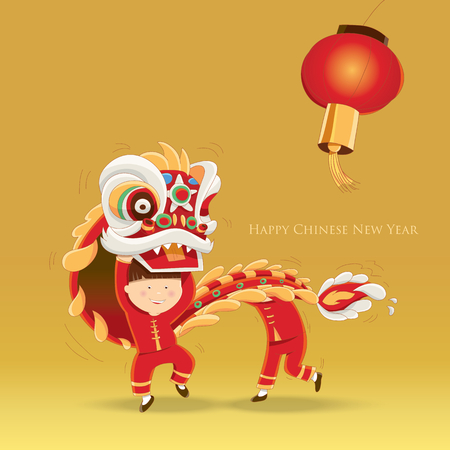幸せな中国の新年-子供遊ぶライオン ダンスします。