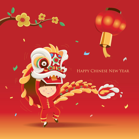 Happy Chinese New Year  with Lion dance 向量圖像