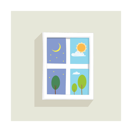window display: Window display showing day and night time Illustration