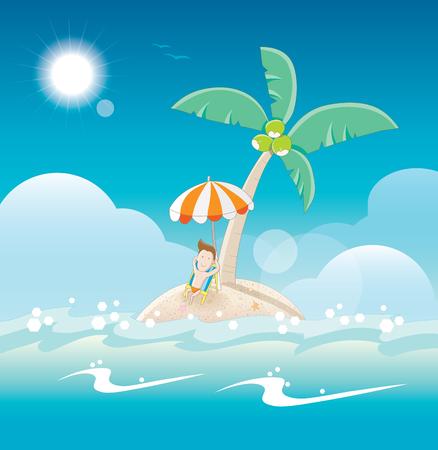 sunbathing: Sunbathing on the sandy island