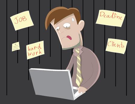 hardworking: Hard-working business man   Employee has many tasks to do Illustration