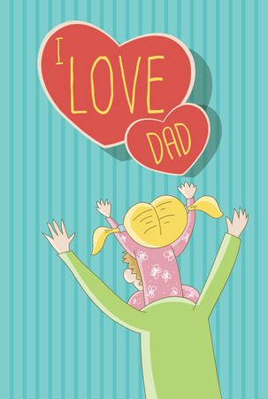 dad daughter: I Love Dad -Daughter sitting on father\ Illustration