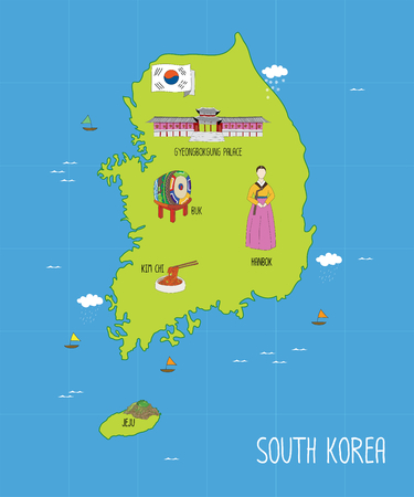 south korea flag: South Korea Map