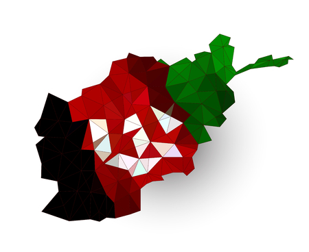 afghan: Low poly Afghnistan map on a waving flag Illustration