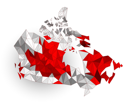 Low poly Canada map on a waving flag