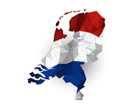 netherlands map: Low poly Netherlands map on a waving flag