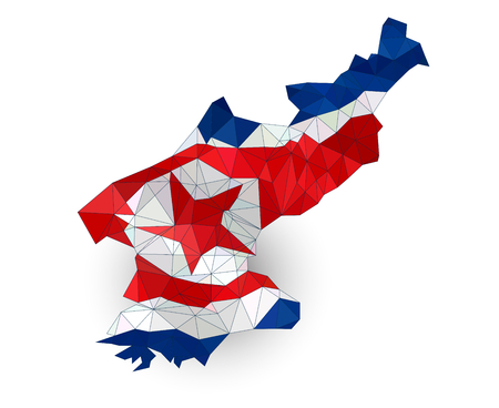 pyongyang: Low poly North Korea map on a waving flag