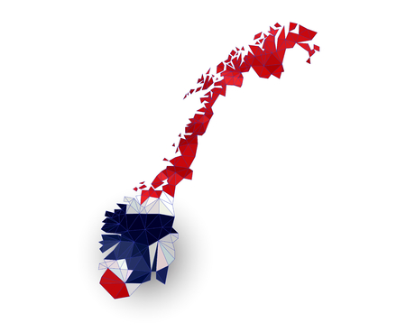 scandinavia: Low poly Norway map on a waving flag
