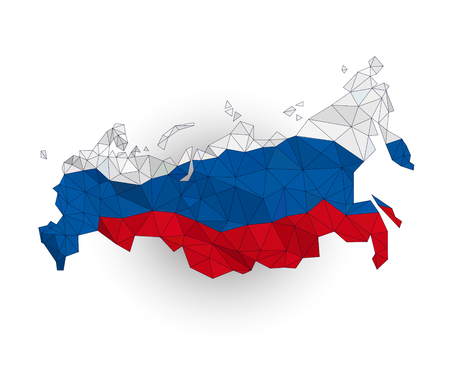 federation: Low poly Russia map on a waving flag