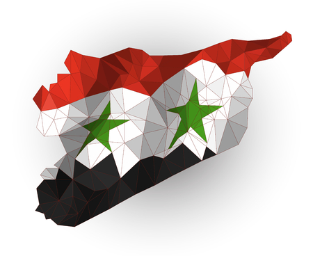 lag: Low poly Syria map on a waving flag Illustration