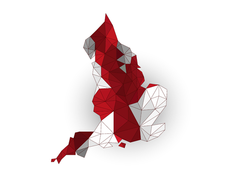 england map: Low poly England map on a waving flag