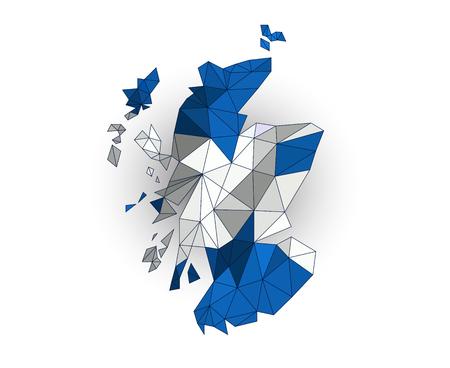 edinburgh: Low poly Schotland kaart op een wapperende vlag Stock Illustratie