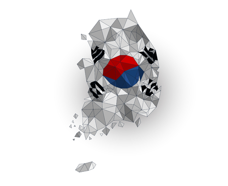 south asian: Low poly South Korea map on a waving flag