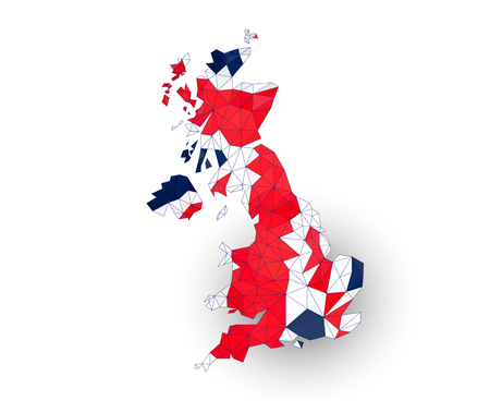 Low poly UK map on a waving flag Vector