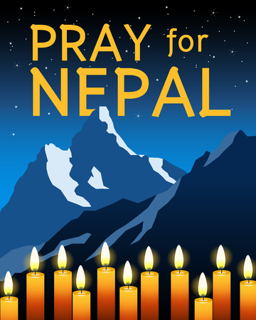 himalayas: Pray for Nepal with candles