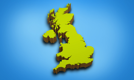 kingdom: 3D map of United Kingdom