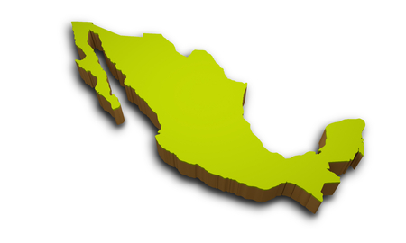 3D map of Mexico isolated on white background