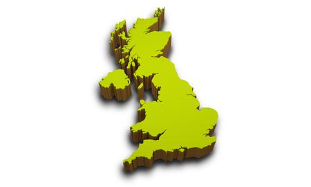 3D-kaart van het Verenigd Koninkrijk op een witte achtergrond Stockfoto
