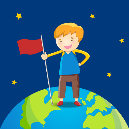 world flags: Kid standing on the earth