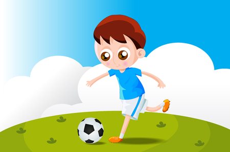 playing soccer: Kid playing soccer