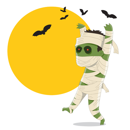 mummified: Halloween Mummy - Cartoon Character Illustration