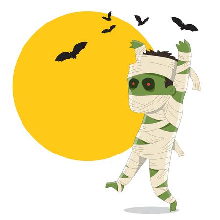 mummified: Halloween Mummy - Cartoon Character Illustration
