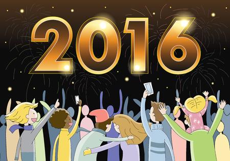 people celebrating: People celebrating New Year Eve 2016