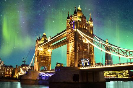 london tower bridge: Northern Lights over Tower Bridge in London, UK