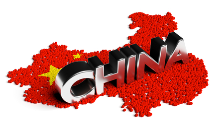 asia: China text with flag and map formed by particles