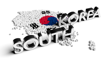 South Korea text with flag and map formed by particles