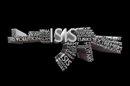 syria peace: ISIS Islamic State of Iraq and Syria word cloud in a shape of Rifle