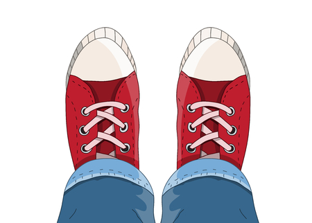 Top view of Sneakers from above Illustration