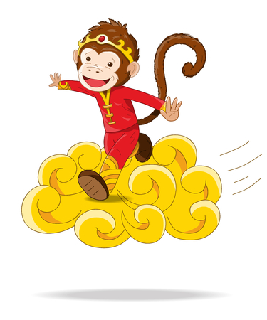 flying monkey: Magic Chinese Monkey flying on a floating golden cloud  Chinese New Year Illustration