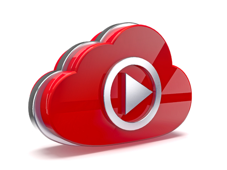 Play video icon with cloud  3D illustration Stock Photo
