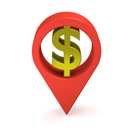 GPS icon with US dollar currency sign  3D illustration Imagens