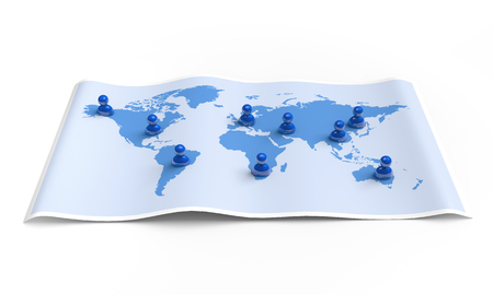 User icons spreading on the world map  3D illustration Stok Fotoğraf