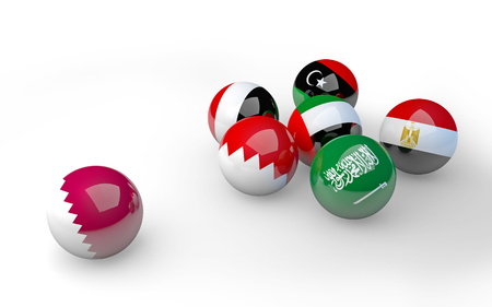 Qatar separated from other Arab flags on spheres  3D illustration
