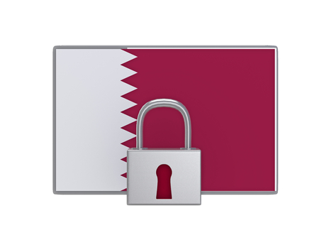 Master key with Qatar flag  3D illustration Stock Photo