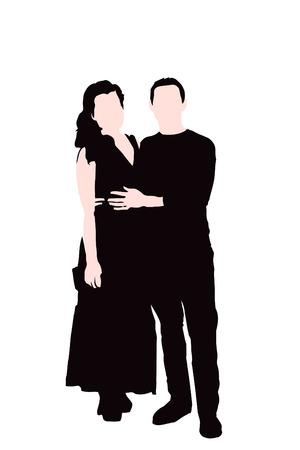 embrace: People embrace black silhouette